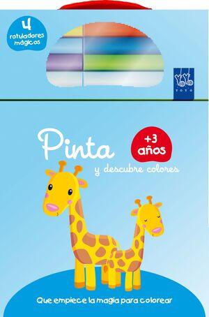 PINTA Y DESCUBRE COLORES +3. JIRAFA